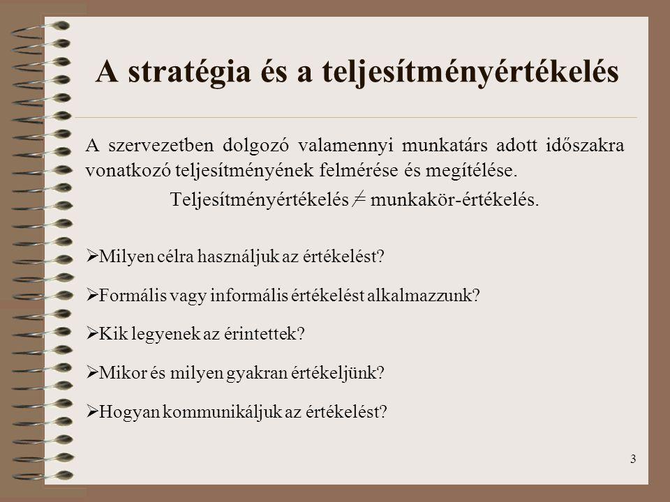 3 A stratégia és a teljesítményértékelés A szervezetben dolgozó valamennyi munkatárs adott időszakra vonatkozó teljesítményének felmérése és megítélés
