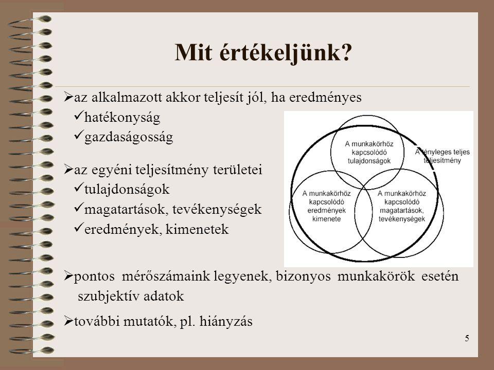 5 Mit értékeljünk?  az alkalmazott akkor teljesít jól, ha eredményes hatékonyság gazdaságosság  az egyéni teljesítmény területei tulajdonságok magat