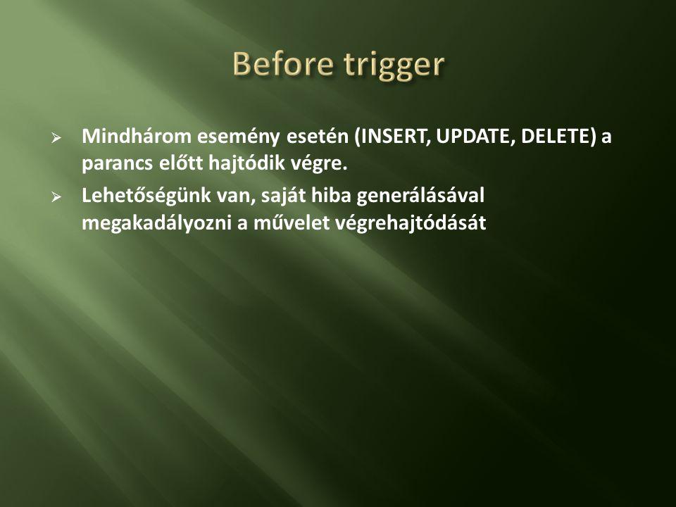  A trigger egy INSERT, UPDATE vagy DELETE parancs futtatása után (amikor az adatok már módosultak) hajtódik végre.