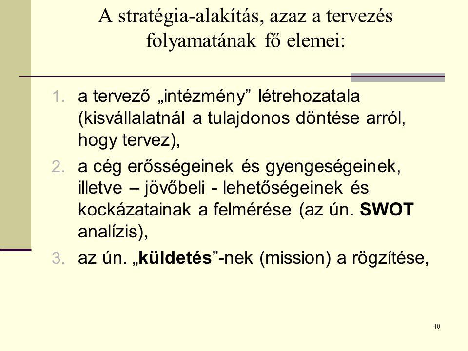 """A stratégia-alakítás, azaz a tervezés folyamatának fő elemei: 1. a tervező """"intézmény"""" létrehozatala (kisvállalatnál a tulajdonos döntése arról, hogy"""