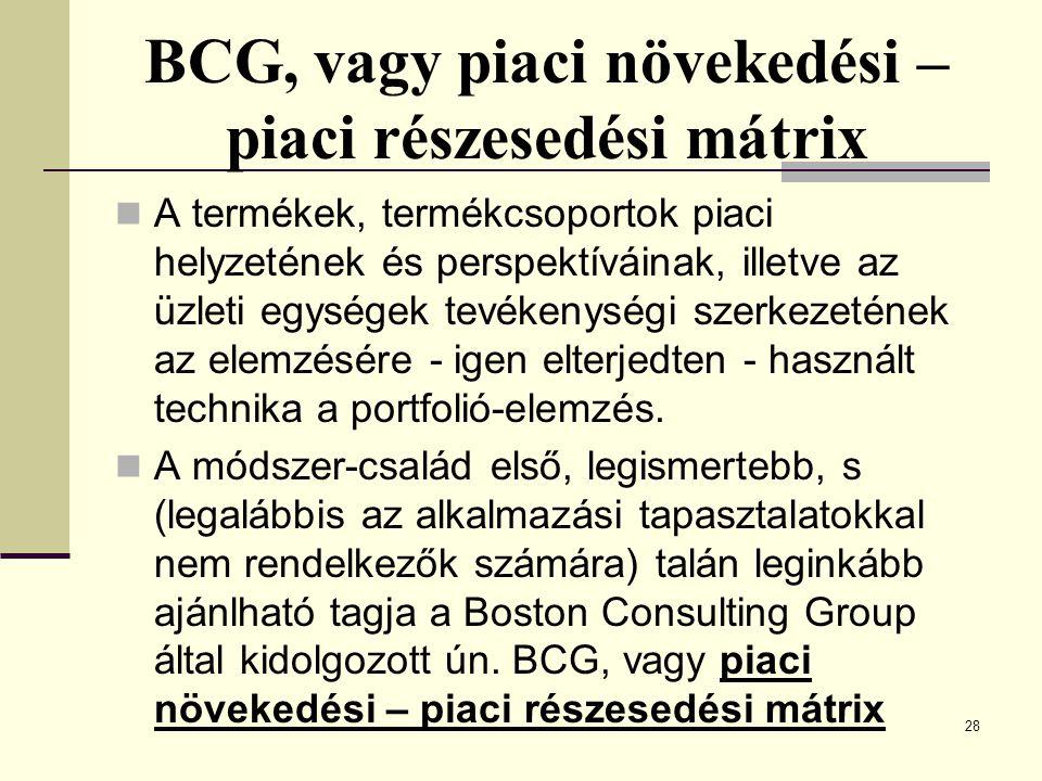 BCG, vagy piaci növekedési – piaci részesedési mátrix A termékek, termékcsoportok piaci helyzetének és perspektíváinak, illetve az üzleti egységek tev