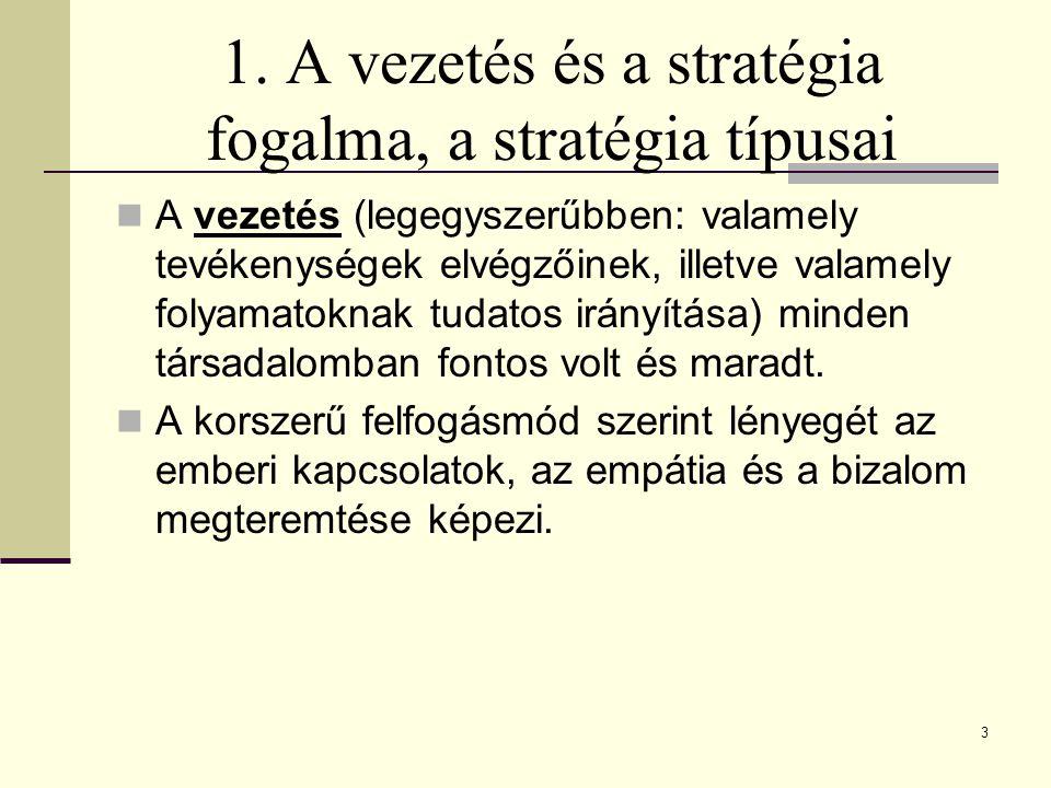 1. A vezetés és a stratégia fogalma, a stratégia típusai A vezetés (legegyszerűbben: valamely tevékenységek elvégzőinek, illetve valamely folyamatokna