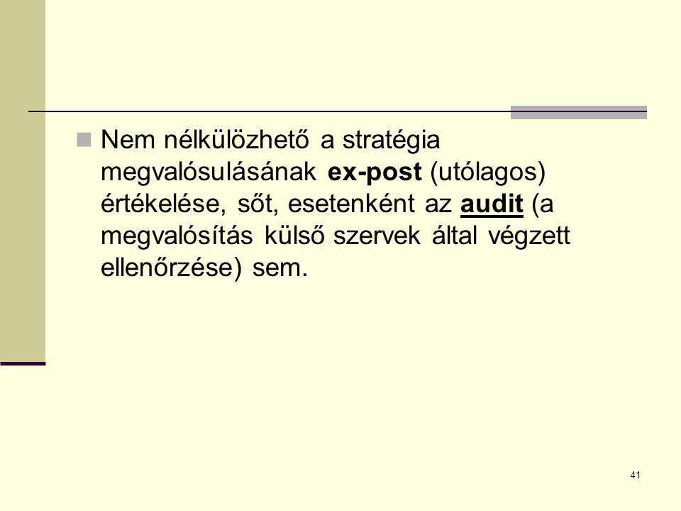 Nem nélkülözhető a stratégia megvalósulásának ex-post (utólagos) értékelése, sőt, esetenként az audit (a megvalósítás külső szervek által végzett elle