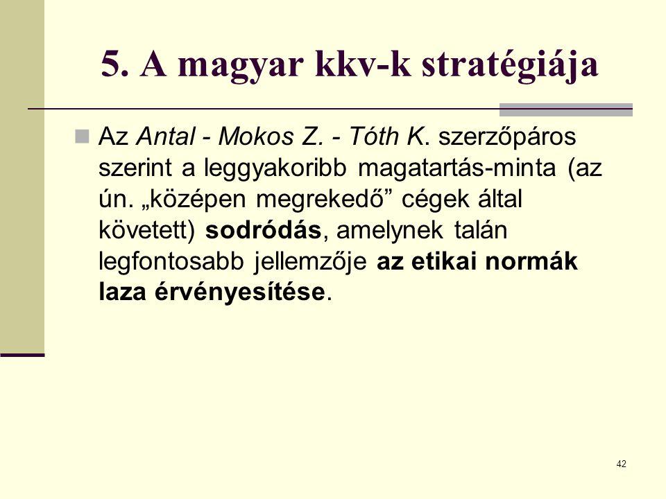 """5. A magyar kkv-k stratégiája Az Antal - Mokos Z. - Tóth K. szerzőpáros szerint a leggyakoribb magatartás-minta (az ún. """"középen megrekedő"""" cégek álta"""