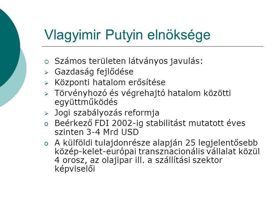 Vlagyimir Putyin elnöksége  Számos területen látványos javulás:  Gazdaság fejlődése  Központi hatalom erősítése  Törvényhozó és végrehajtó hatalom közötti együttműködés  Jogi szabályozás reformja o Beérkező FDI 2002-ig stabilitást mutatott éves szinten 3-4 Mrd USD o A külföldi tulajdonrésze alapján 25 legjelentősebb közép-kelet-európai transznacionális vállalat közül 4 orosz, az olajipar ill.