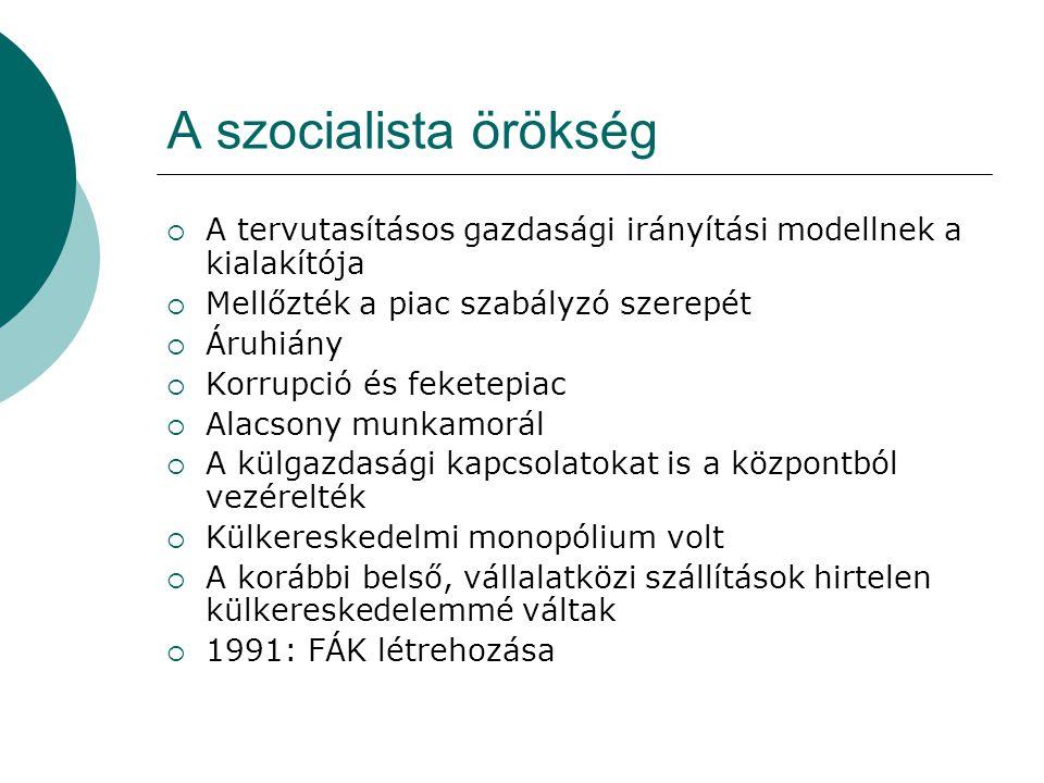 A szocialista örökség  A tervutasításos gazdasági irányítási modellnek a kialakítója  Mellőzték a piac szabályzó szerepét  Áruhiány  Korrupció és