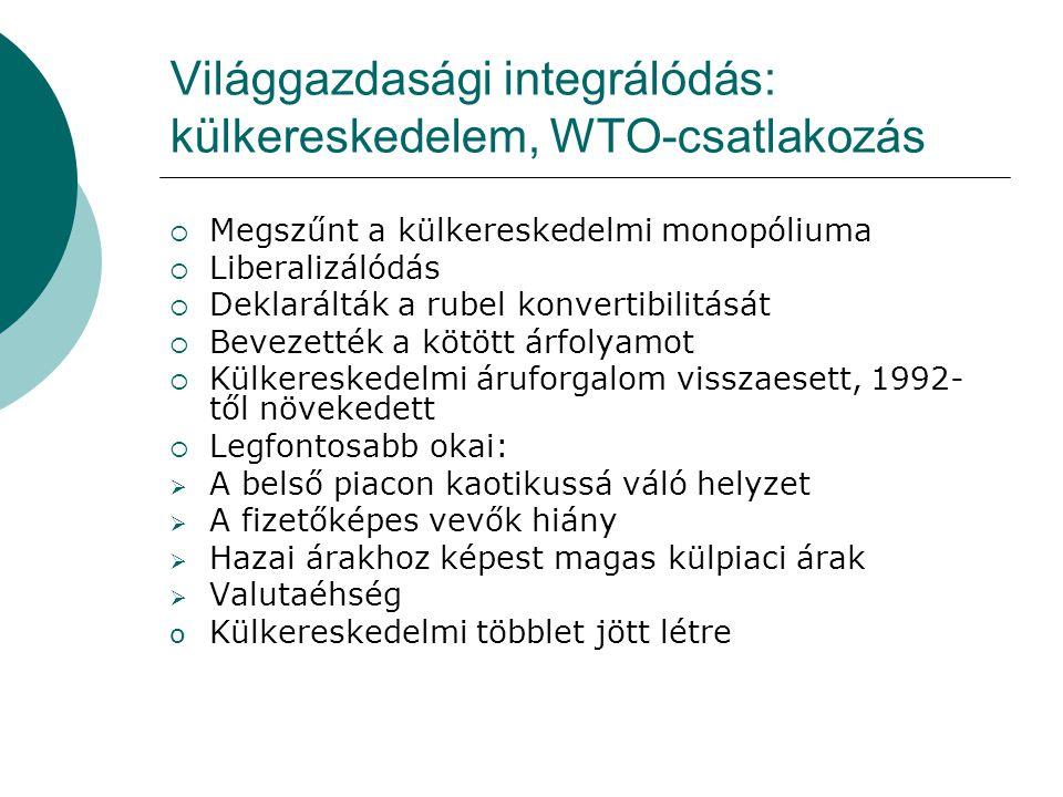 Világgazdasági integrálódás: külkereskedelem, WTO-csatlakozás  Megszűnt a külkereskedelmi monopóliuma  Liberalizálódás  Deklarálták a rubel konvertibilitását  Bevezették a kötött árfolyamot  Külkereskedelmi áruforgalom visszaesett, 1992- től növekedett  Legfontosabb okai:  A belső piacon kaotikussá váló helyzet  A fizetőképes vevők hiány  Hazai árakhoz képest magas külpiaci árak  Valutaéhség o Külkereskedelmi többlet jött létre