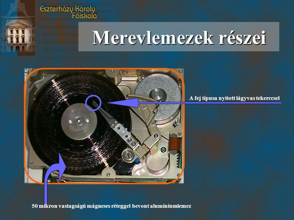 50 mikron vastagságú mágneses réteggel bevont alumíniumlemez Merevlemezek részei A fej típusa nyitott lágyvas tekerccsel