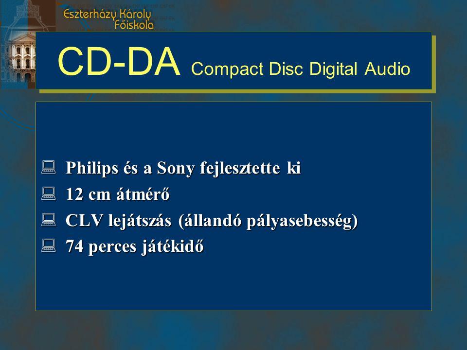 CD-DA Compact Disc Digital Audio  Philips és a Sony fejlesztette ki  12 cm átmérő  CLV lejátszás (állandó pályasebesség)  74 perces játékidő
