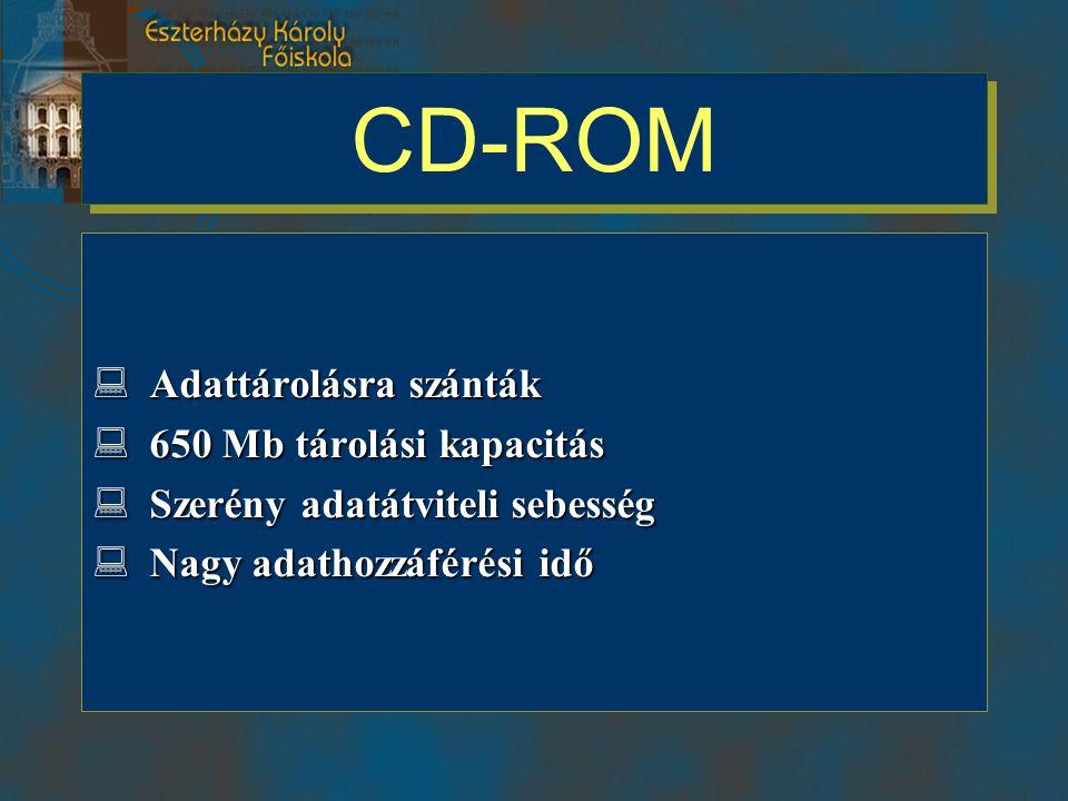 CD-ROM  Adattárolásra szánták  650 Mb tárolási kapacitás  Szerény adatátviteli sebesség  Nagy adathozzáférési idő