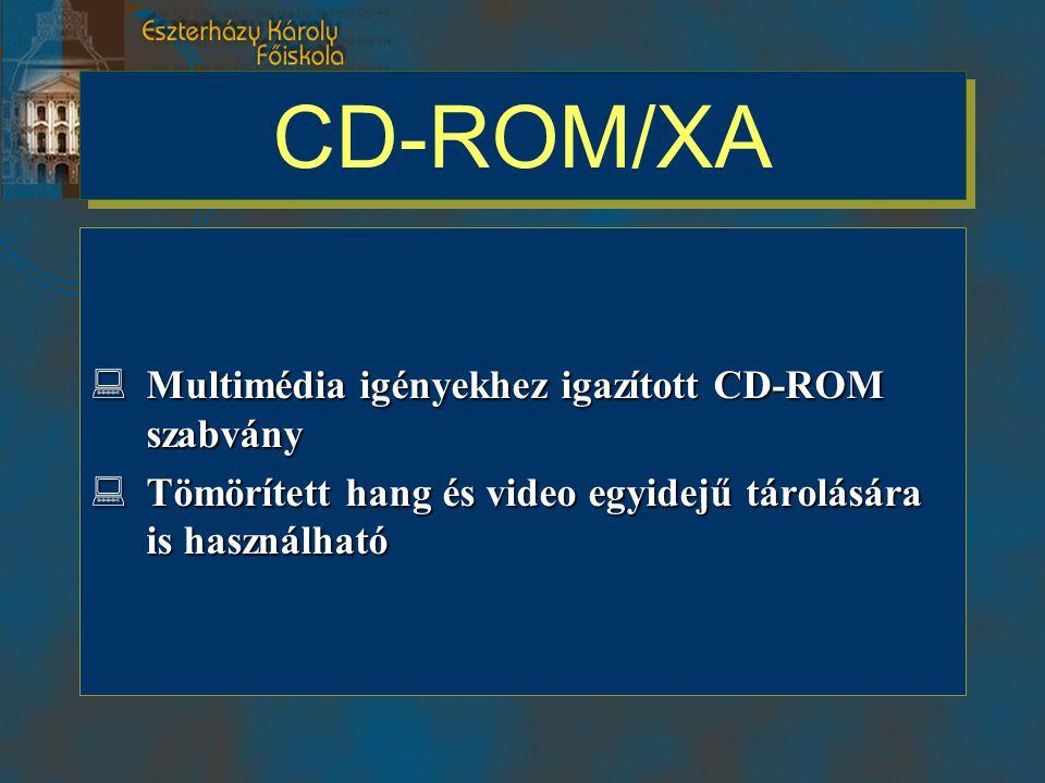 CD-ROM/XA  Multimédia igényekhez igazított CD-ROM szabvány  Tömörített hang és video egyidejű tárolására is használható