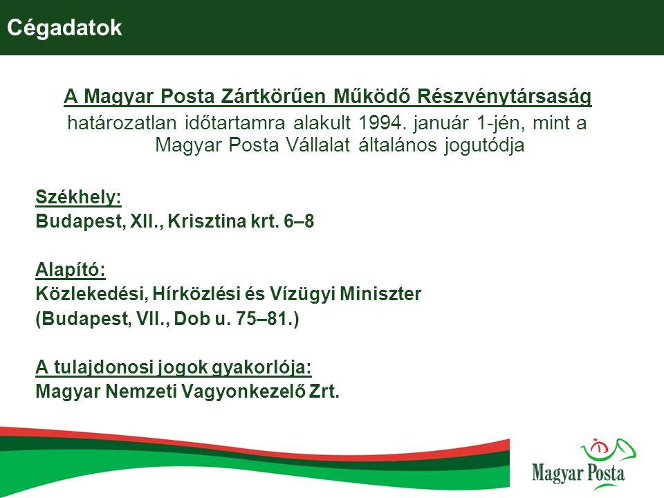 Cégadatok A Magyar Posta Zártkörűen Működő Részvénytársaság határozatlan időtartamra alakult 1994. január 1-jén, mint a Magyar Posta Vállalat általáno