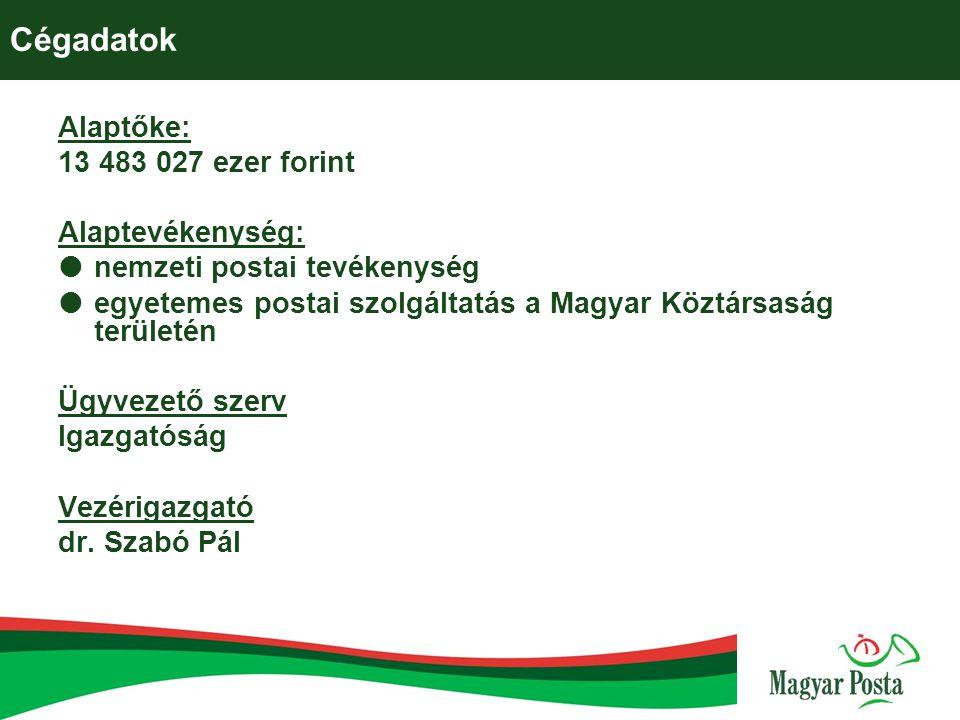 Cégadatok Alaptőke: 13 483 027 ezer forint Alaptevékenység:  nemzeti postai tevékenység  egyetemes postai szolgáltatás a Magyar Köztársaság területé