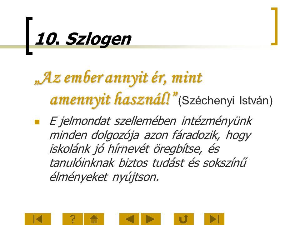 """10. Szlogen """"Az ember annyit ér, mint amennyit használ!"""" """"Az ember annyit ér, mint amennyit használ!"""" (Széchenyi István) E jelmondat szellemében intéz"""
