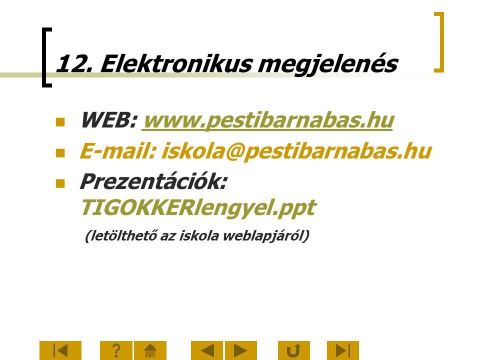 12. Elektronikus megjelenés WEB: www.pestibarnabas.huwww.pestibarnabas.hu E-mail: iskola@pestibarnabas.hu Prezentációk: TIGOKKERlengyel.ppt (letölthet