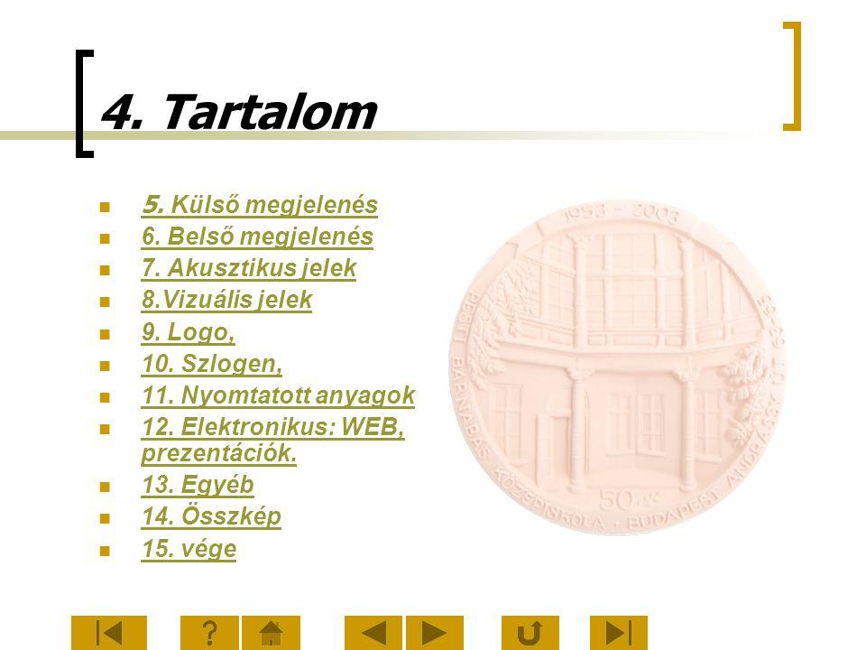 4. Tartalom 5. Külső megjelenés 5. Külső megjelenés 6. Belső megjelenés 7. Akusztikus jelek 8.Vizuális jelek 9. Logo, 10. Szlogen, 11. Nyomtatott anya
