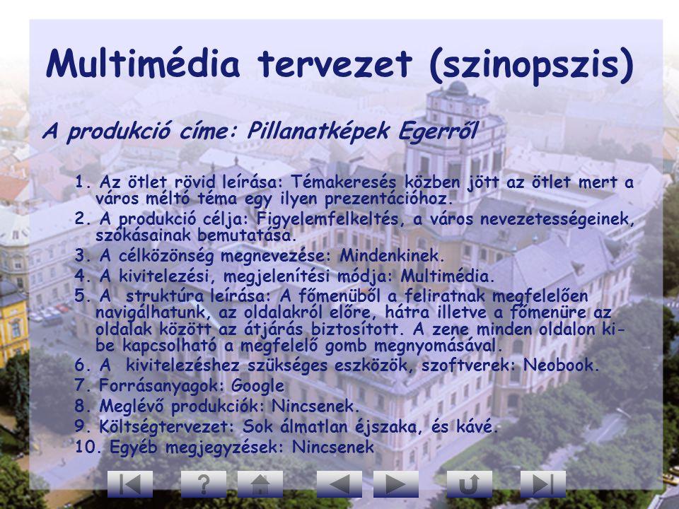 Multimédia tervezet (szinopszis) A produkció címe: Pillanatképek Egerről 1. Az ötlet rövid leírása: Témakeresés közben jött az ötlet mert a város mélt