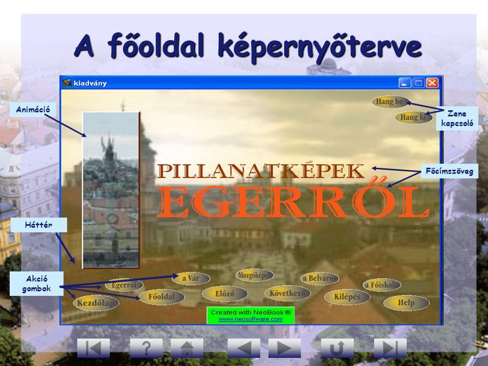A főoldal képernyőterve A főoldal képernyőterve Háttér Akció gombok Animáció Zene kapcsoló Főcímszöveg