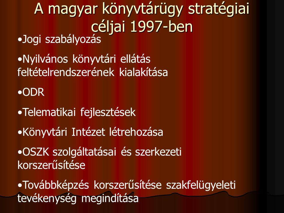 A magyar könyvtárügy stratégiai céljai 1997-ben Jogi szabályozás Nyilvános könyvtári ellátás feltételrendszerének kialakítása ODR Telematikai fejleszt