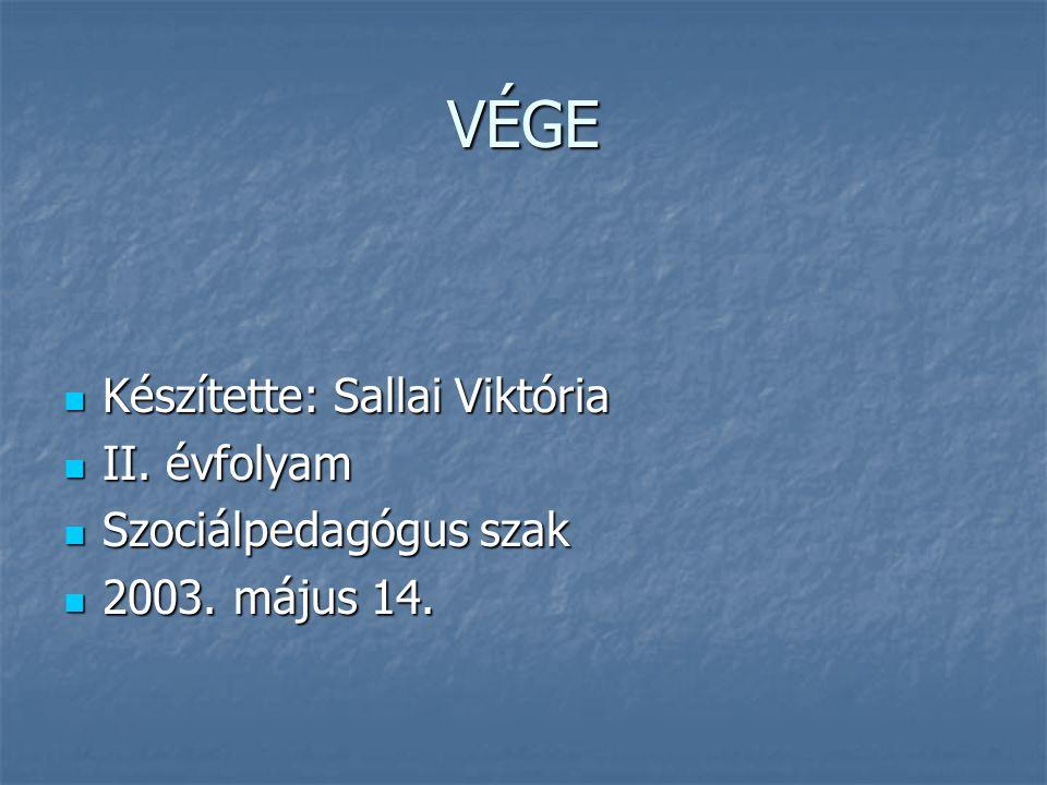 VÉGE Készítette: Sallai Viktória II. évfolyam Szociálpedagógus szak 2003. május 14.