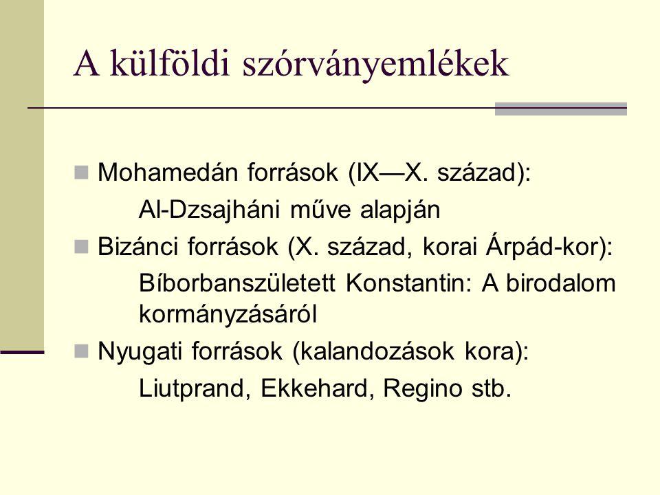 A külföldi szórványemlékek Mohamedán források (IX—X. század): Al-Dzsajháni műve alapján Bizánci források (X. század, korai Árpád-kor): Bíborbanszülete
