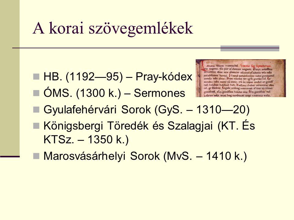 A korai szövegemlékek HB. (1192—95) – Pray-kódex ÓMS. (1300 k.) – Sermones Gyulafehérvári Sorok (GyS. – 1310—20) Königsbergi Töredék és Szalagjai (KT.
