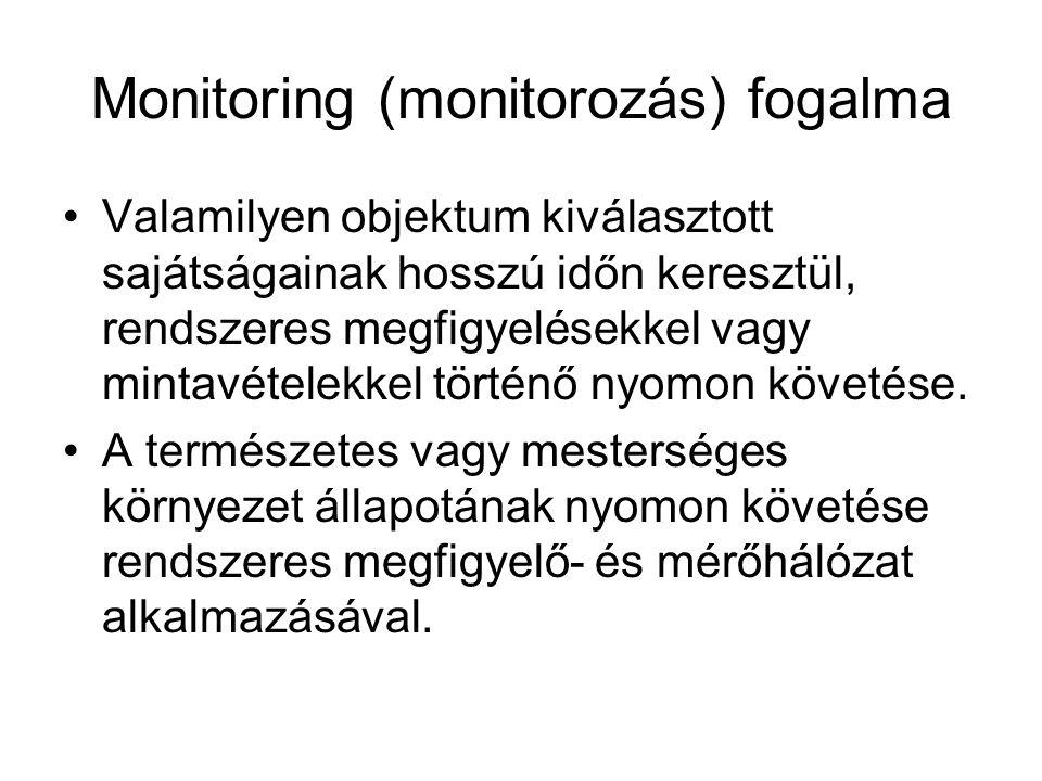 Monitoring (monitorozás) fogalma Valamilyen objektum kiválasztott sajátságainak hosszú időn keresztül, rendszeres megfigyelésekkel vagy mintavételekke