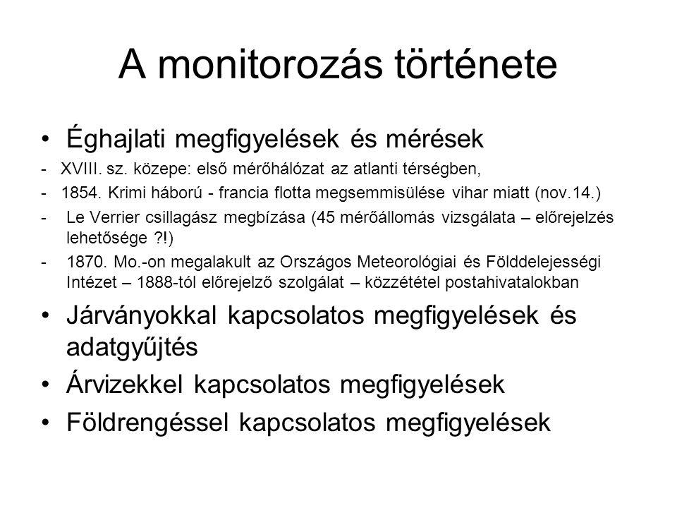 A monitorozás története Éghajlati megfigyelések és mérések - XVIII. sz. közepe: első mérőhálózat az atlanti térségben, - 1854. Krimi háború - francia