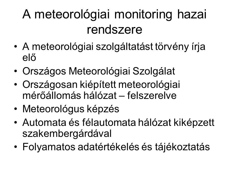 A meteorológiai monitoring hazai rendszere A meteorológiai szolgáltatást törvény írja elő Országos Meteorológiai Szolgálat Országosan kiépített meteor