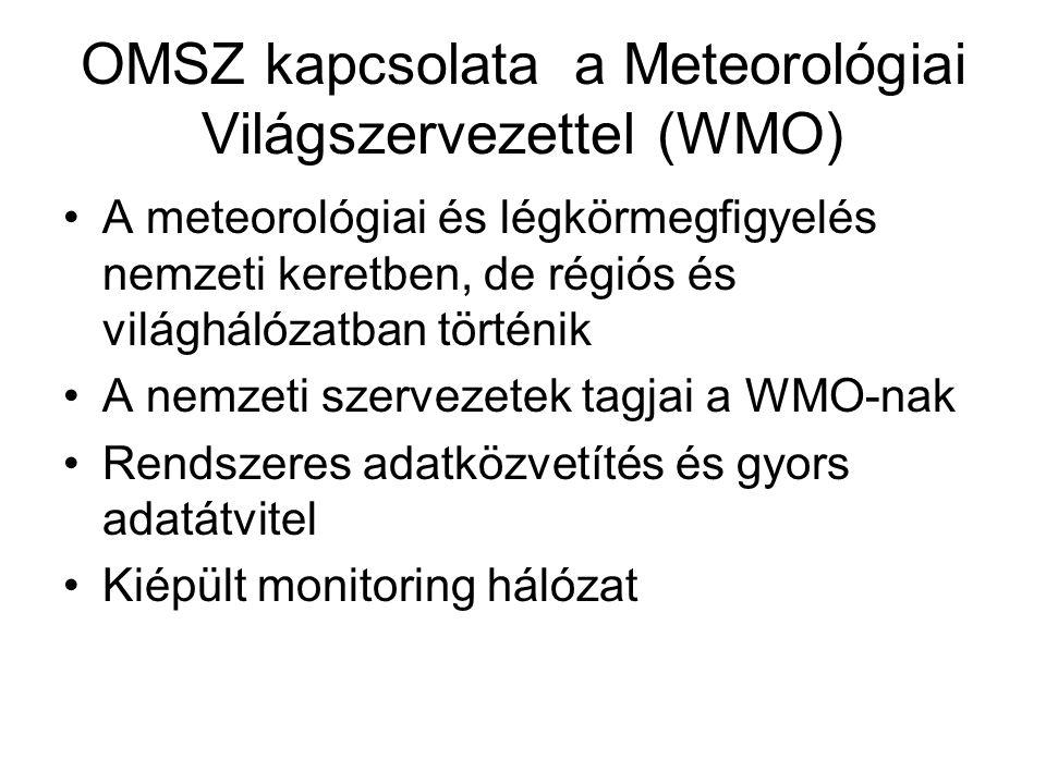 OMSZ kapcsolata a Meteorológiai Világszervezettel (WMO) A meteorológiai és légkörmegfigyelés nemzeti keretben, de régiós és világhálózatban történik A