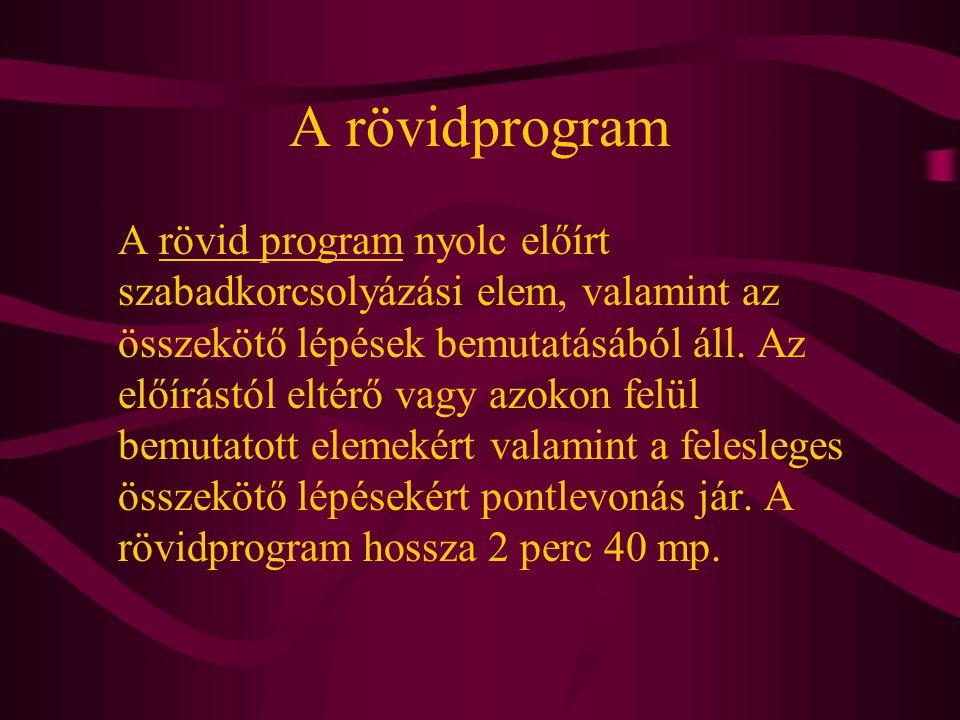 A rövidprogram A rövid program nyolc előírt szabadkorcsolyázási elem, valamint az összekötő lépések bemutatásából áll. Az előírástól eltérő vagy azoko