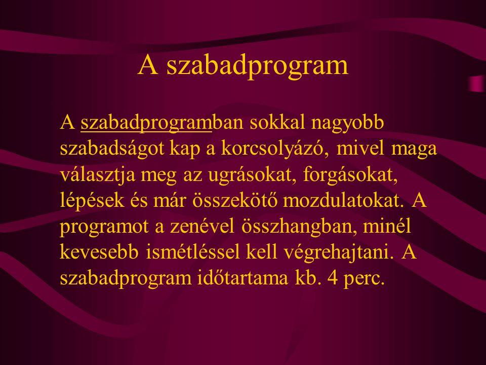 A szabadprogram A szabadprogramban sokkal nagyobb szabadságot kap a korcsolyázó, mivel maga választja meg az ugrásokat, forgásokat, lépések és már öss