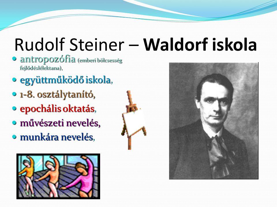 Rudolf Steiner – Waldorf iskola antropozófia (emberi bölcsesség fejlődéslélektana), antropozófia (emberi bölcsesség fejlődéslélektana), együttműködő iskola, együttműködő iskola, 1-8.
