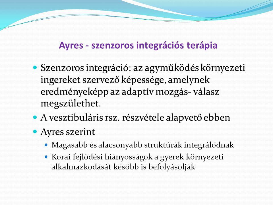 Ayres - szenzoros integrációs terápia Szenzoros integráció: az agyműködés környezeti ingereket szervező képessége, amelynek eredményeképp az adaptív mozgás- válasz megszülethet.