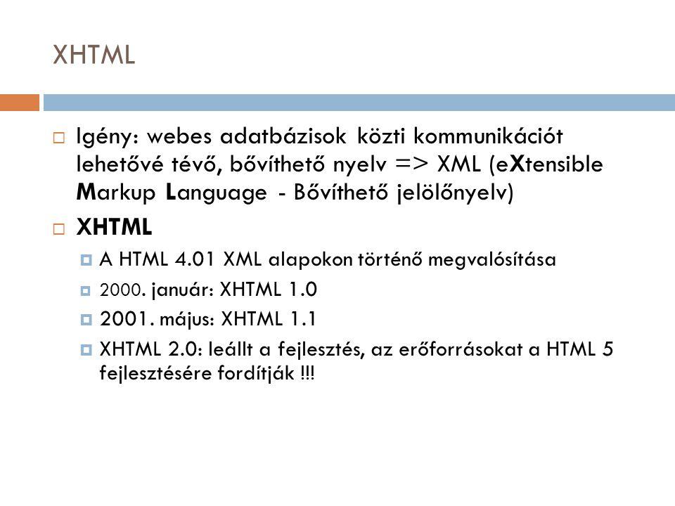 XHTML  Igény: webes adatbázisok közti kommunikációt lehetővé tévő, bővíthető nyelv => XML (eXtensible Markup Language - Bővíthető jelölőnyelv)  XHTML  A HTML 4.01 XML alapokon történő megvalósítása  2000.