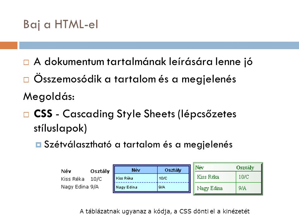 Baj a HTML-el  A dokumentum tartalmának leírására lenne jó  Összemosódik a tartalom és a megjelenés Megoldás:  CSS - Cascading Style Sheets (lépcsőzetes stíluslapok)  Szétválasztható a tartalom és a megjelenés A táblázatnak ugyanaz a kódja, a CSS dönti el a kinézetét