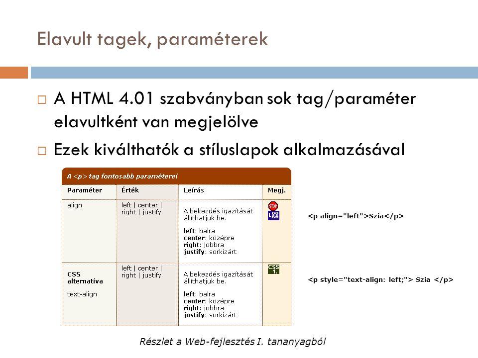 Elavult tagek, paraméterek  A HTML 4.01 szabványban sok tag/paraméter elavultként van megjelölve  Ezek kiválthatók a stíluslapok alkalmazásával Szia Részlet a Web-fejlesztés I.
