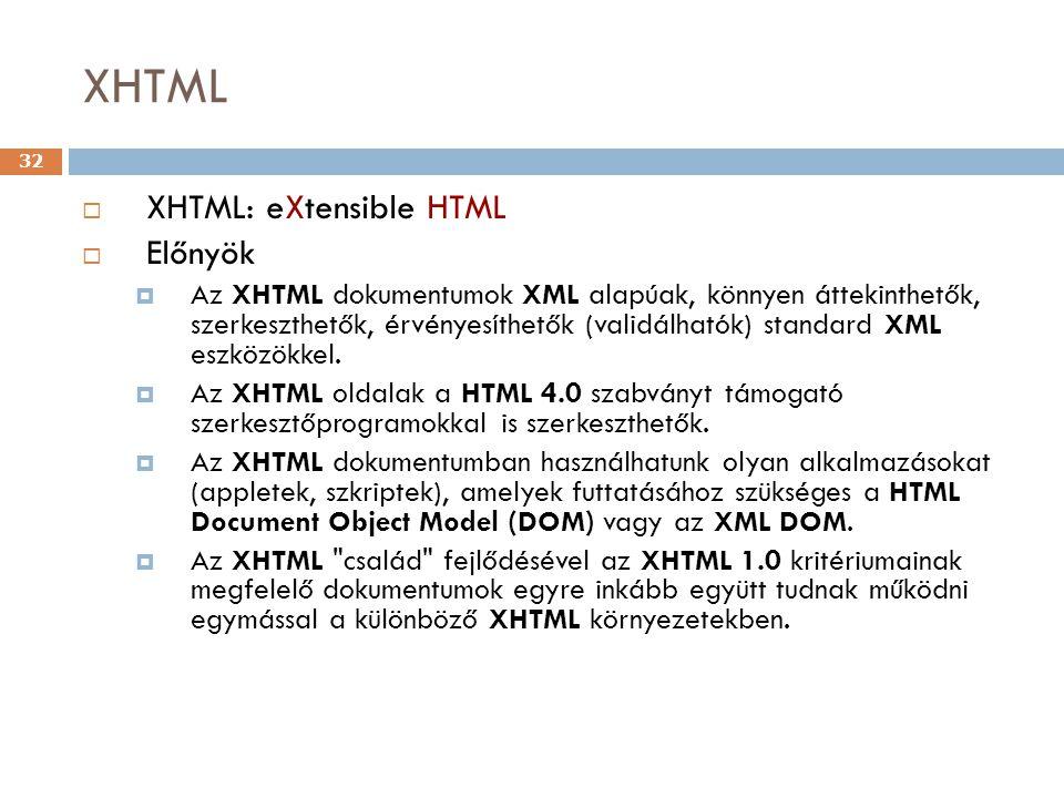XHTML 32  XHTML: eXtensible HTML  Előnyök  Az XHTML dokumentumok XML alapúak, könnyen áttekinthetők, szerkeszthetők, érvényesíthetők (validálhatók) standard XML eszközökkel.