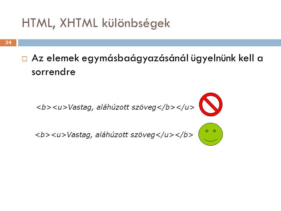 HTML, XHTML különbségek 34  Az elemek egymásbaágyazásánál ügyelnünk kell a sorrendre Vastag, aláhúzott szöveg