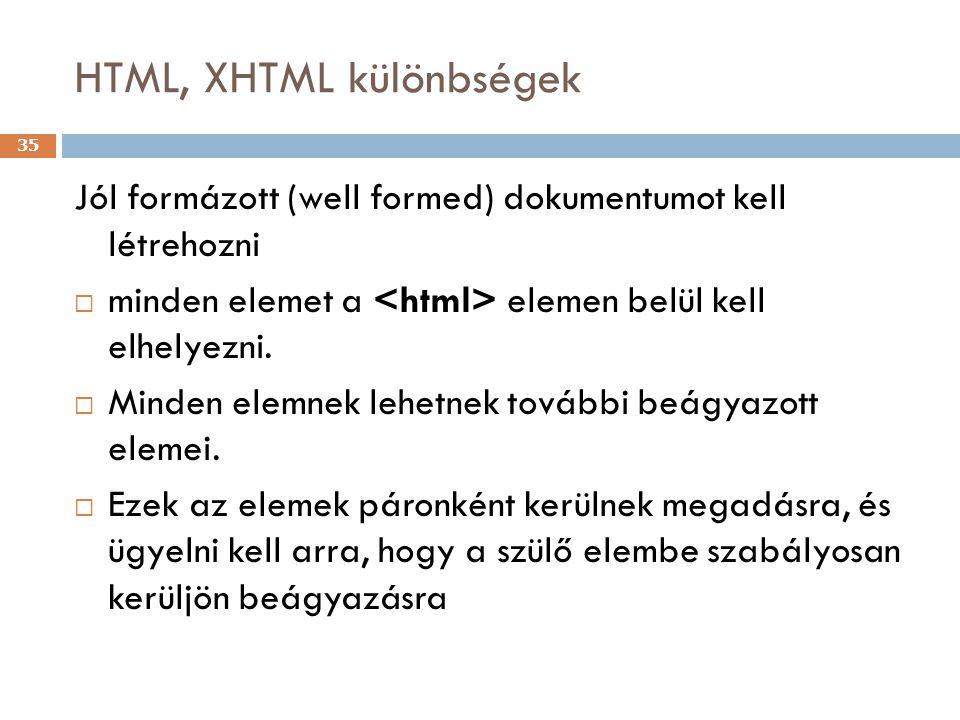 HTML, XHTML különbségek 35 Jól formázott (well formed) dokumentumot kell létrehozni  minden elemet a elemen belül kell elhelyezni.  Minden elemnek l