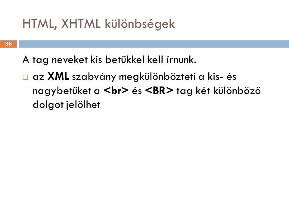 HTML, XHTML különbségek 36 A tag neveket kis betűkkel kell írnunk.  az XML szabvány megkülönbözteti a kis- és nagybetűket a és tag két különböző dolg