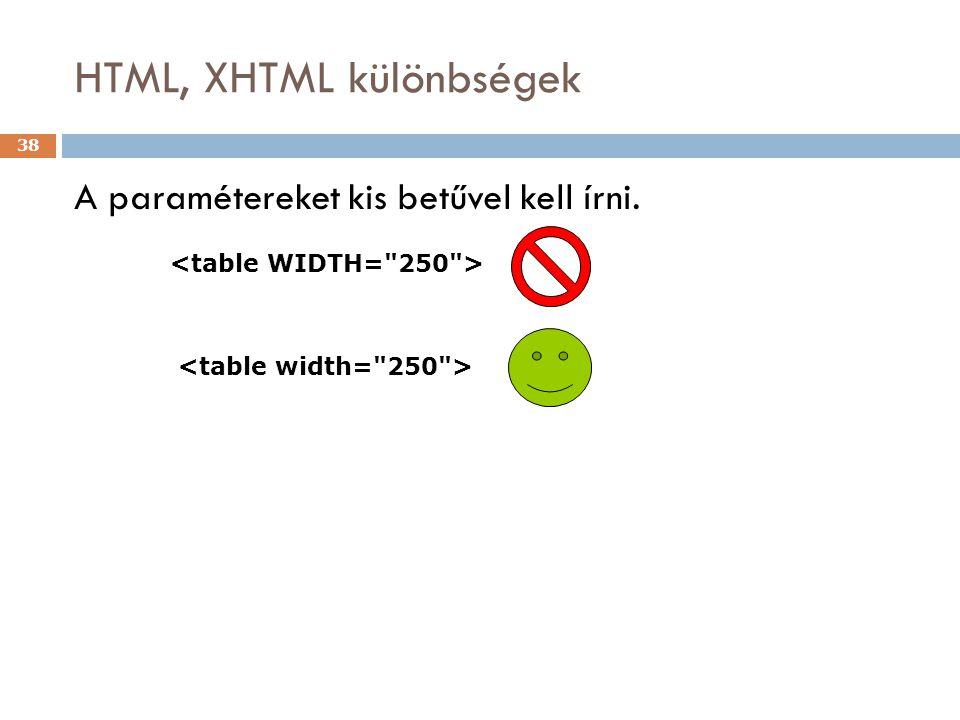 HTML, XHTML különbségek 38 A paramétereket kis betűvel kell írni.