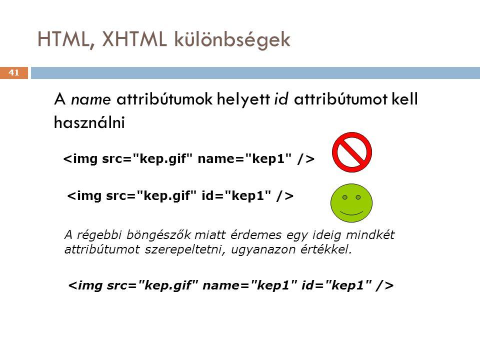 HTML, XHTML különbségek 41 A name attribútumok helyett id attribútumot kell használni A régebbi böngészők miatt érdemes egy ideig mindkét attribútumot szerepeltetni, ugyanazon értékkel.