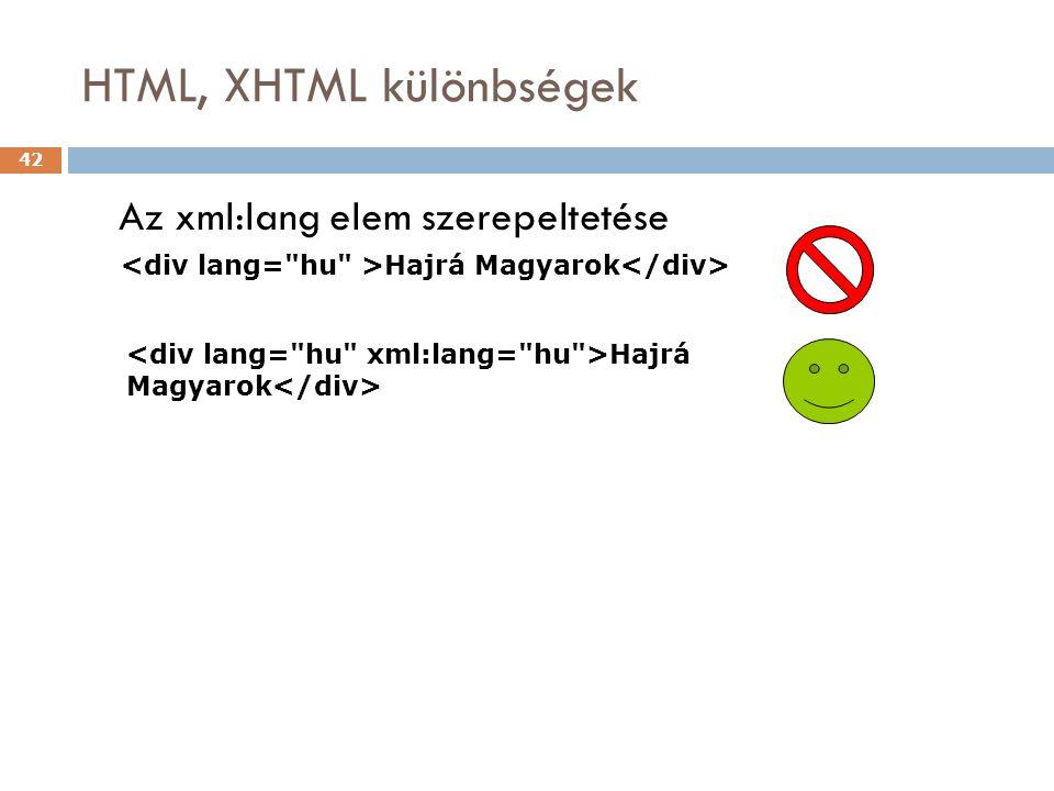 HTML, XHTML különbségek 42 Az xml:lang elem szerepeltetése Hajrá Magyarok