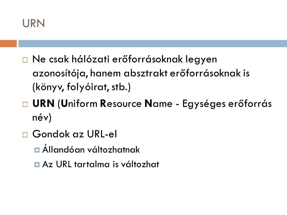 URN  Ne csak hálózati erőforrásoknak legyen azonosítója, hanem absztrakt erőforrásoknak is (könyv, folyóirat, stb.)  URN (Uniform Resource Name - Egységes erőforrás név)  Gondok az URL-el  Állandóan változhatnak  Az URL tartalma is változhat