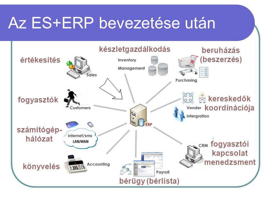 Az ES+ERP bevezetése után értékesítés fogyasztók könyvelés bérügy (bérlista) fogyasztói kapcsolat menedzsment kereskedők koordinációja beruházás (besz