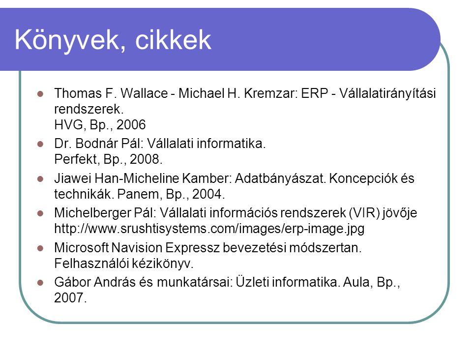 Könyvek, cikkek Thomas F. Wallace - Michael H. Kremzar: ERP - Vállalatirányítási rendszerek. HVG, Bp., 2006 Dr. Bodnár Pál: Vállalati informatika. Per
