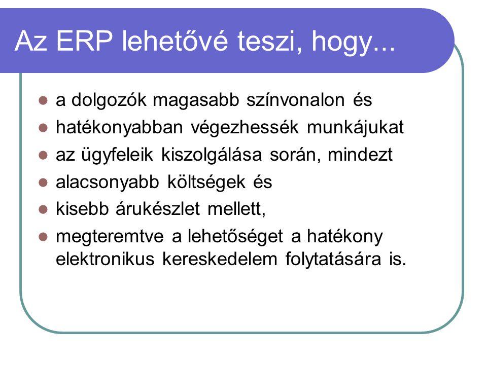 Az ERP lehetővé teszi, hogy... a dolgozók magasabb színvonalon és hatékonyabban végezhessék munkájukat az ügyfeleik kiszolgálása során, mindezt alacso