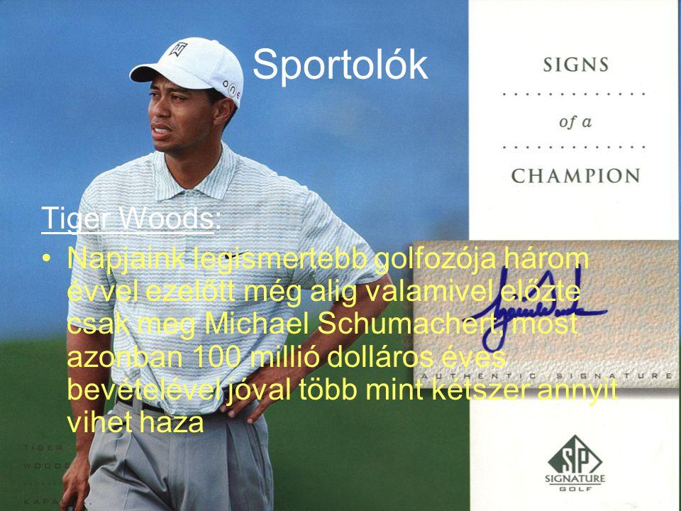 Sportolók Tiger Woods: Napjaink legismertebb golfozója három évvel ezelőtt még alig valamivel előzte csak meg Michael Schumachert, most azonban 100 millió dolláros éves bevételével jóval több mint kétszer annyit vihet haza