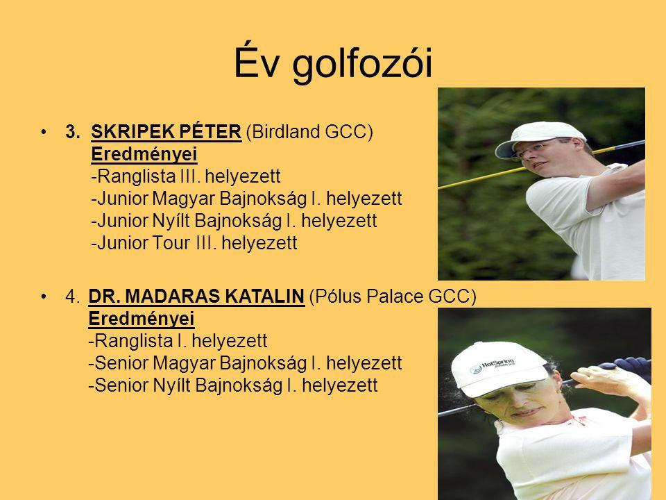 Év golfozói 3. SKRIPEK PÉTER (Birdland GCC) Eredményei -Ranglista III. helyezett -Junior Magyar Bajnokság I. helyezett -Junior Nyílt Bajnokság I. hely